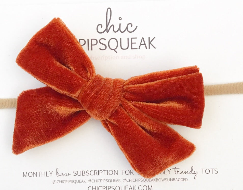 Velvet Hand-Tied Bow- Rust Orange