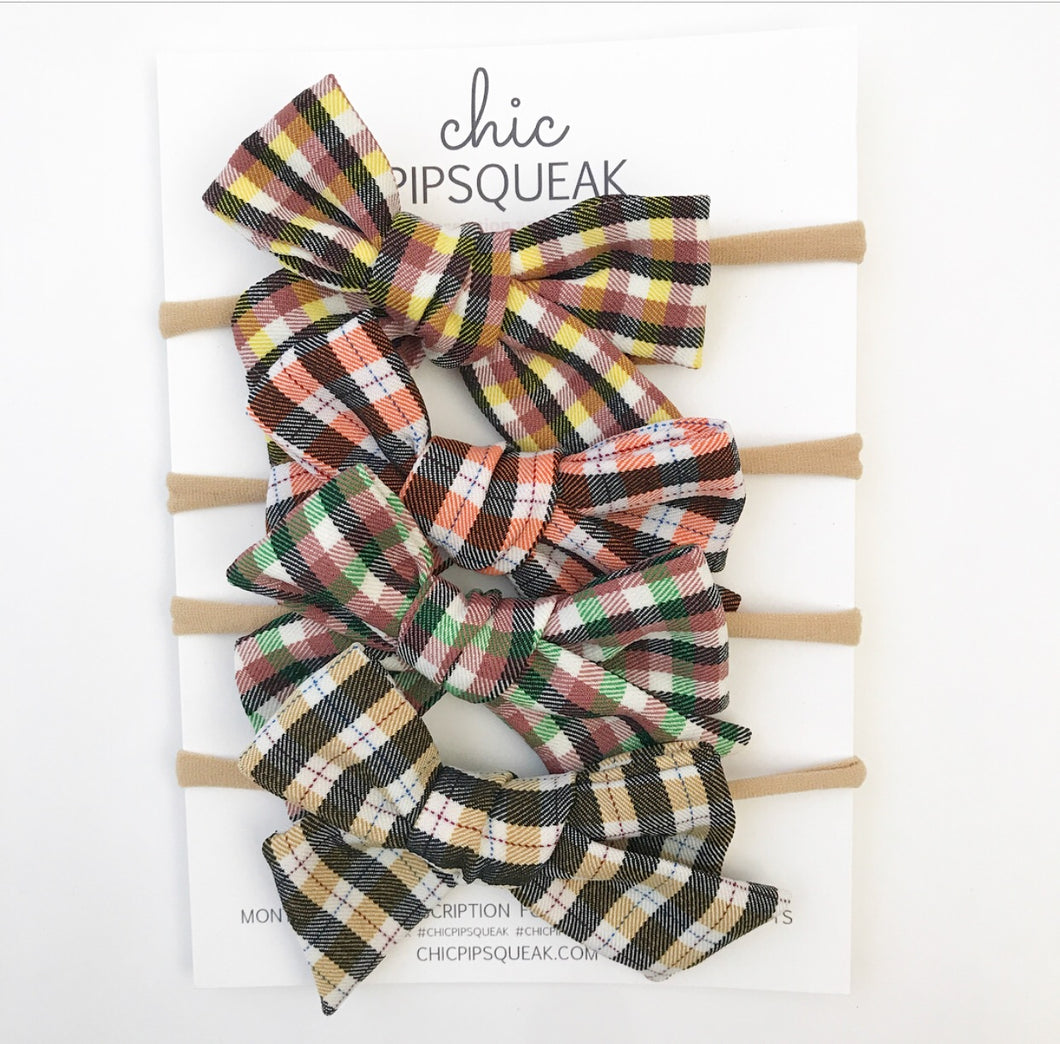 Hand-Tied Bow- Plaid Four Pack Bundle