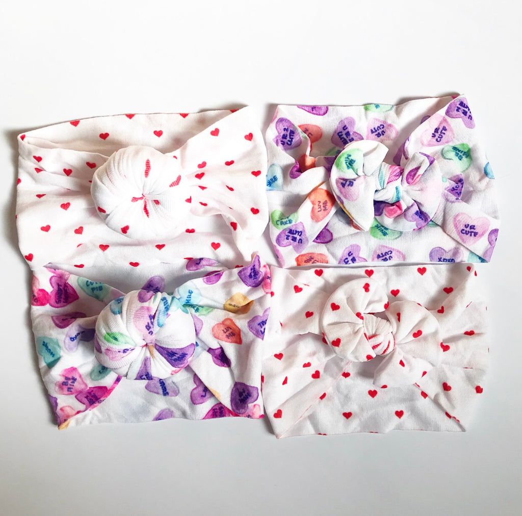 Classic Nylon and Ballet Bun Headwraps- Red Hearts and Conversation Hearts