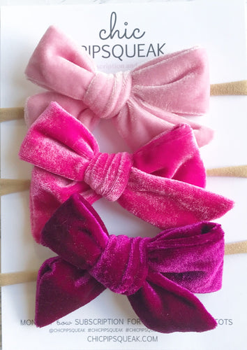 Velvet Bundle- Baby Pink, Magenta Hot Pink and Berry Berry Raspberry