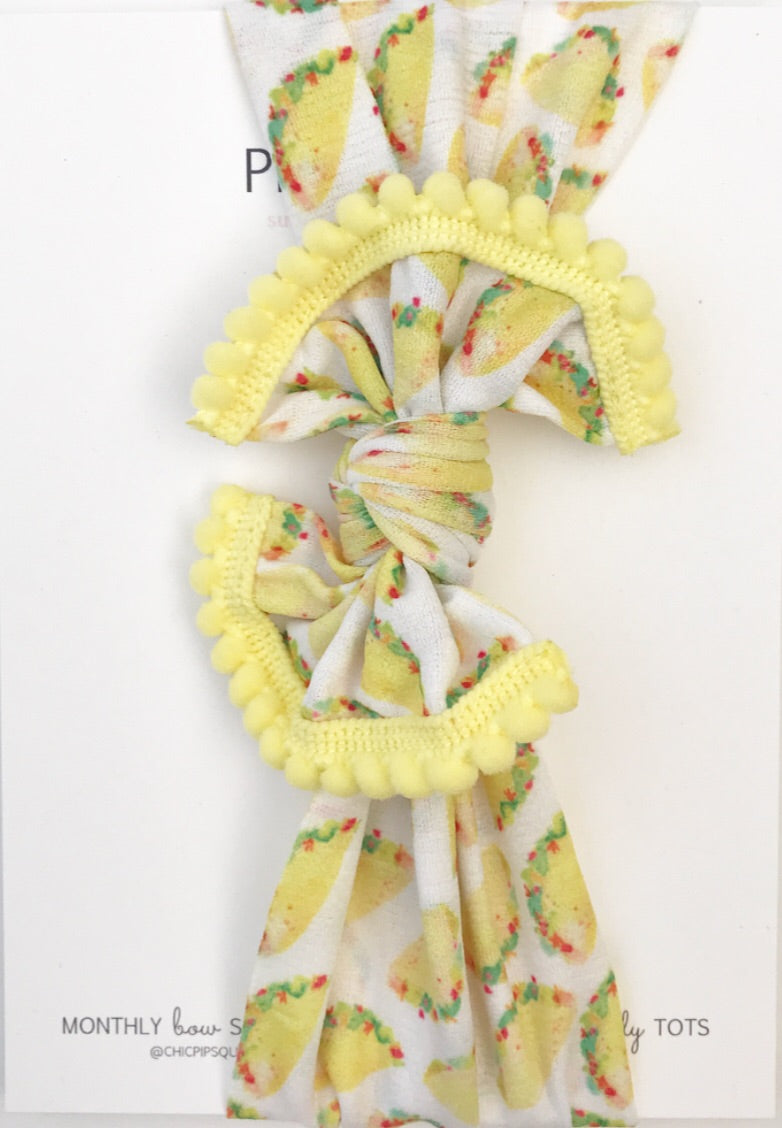 Classic Nylon Headwraps- Taco with Yellow Poms