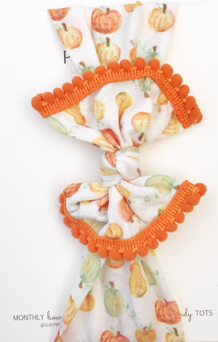 Classic Nylon Headwraps- Pumpkins and Gourds with Orange Poms