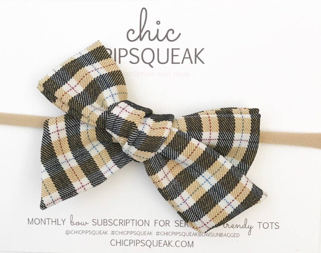 Hand-Tied Bow- Tan/Black Plaid
