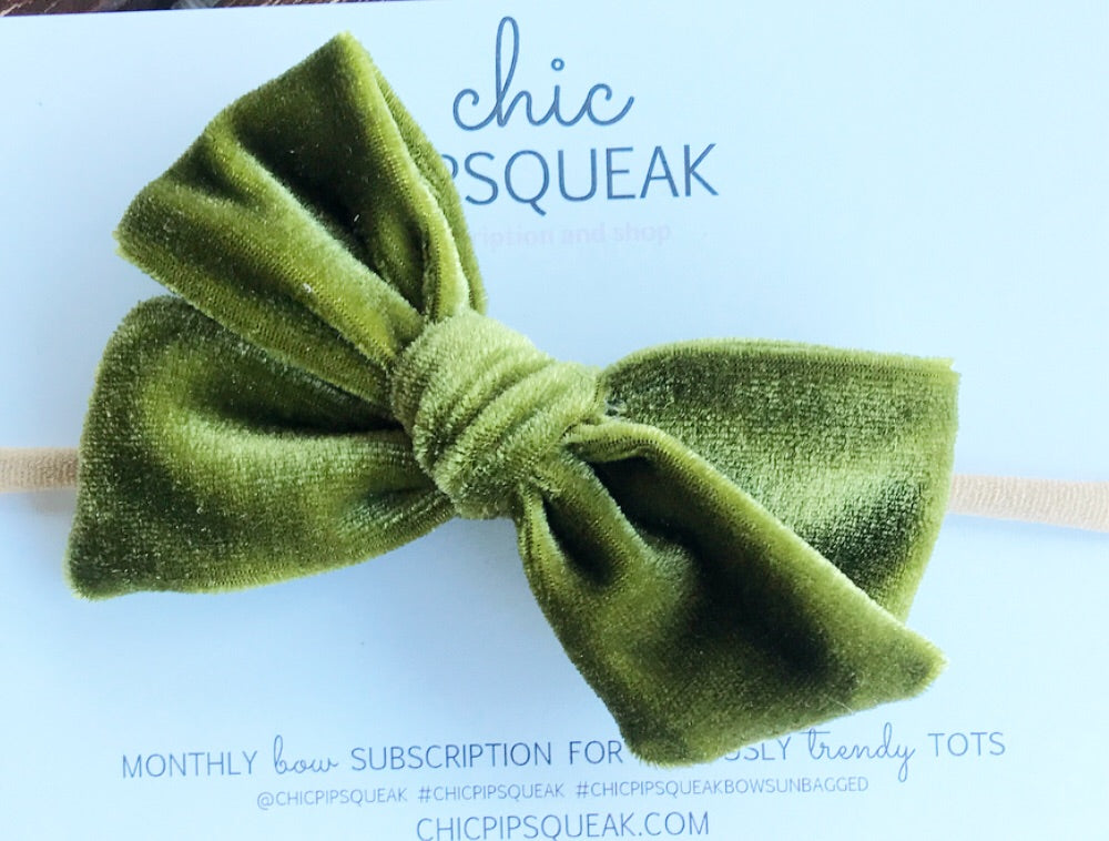 Velvet Hand-Tied Bow- Olive Green