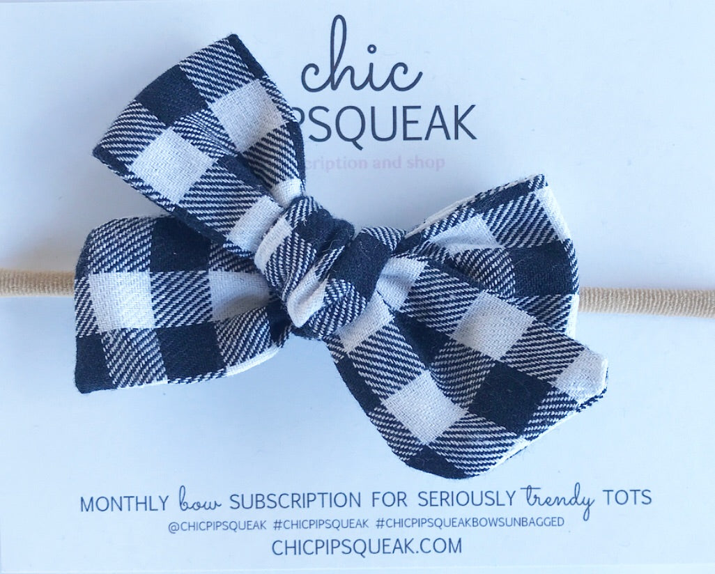 Hand-Tied Bow- Navy and White Buffalo Plaid