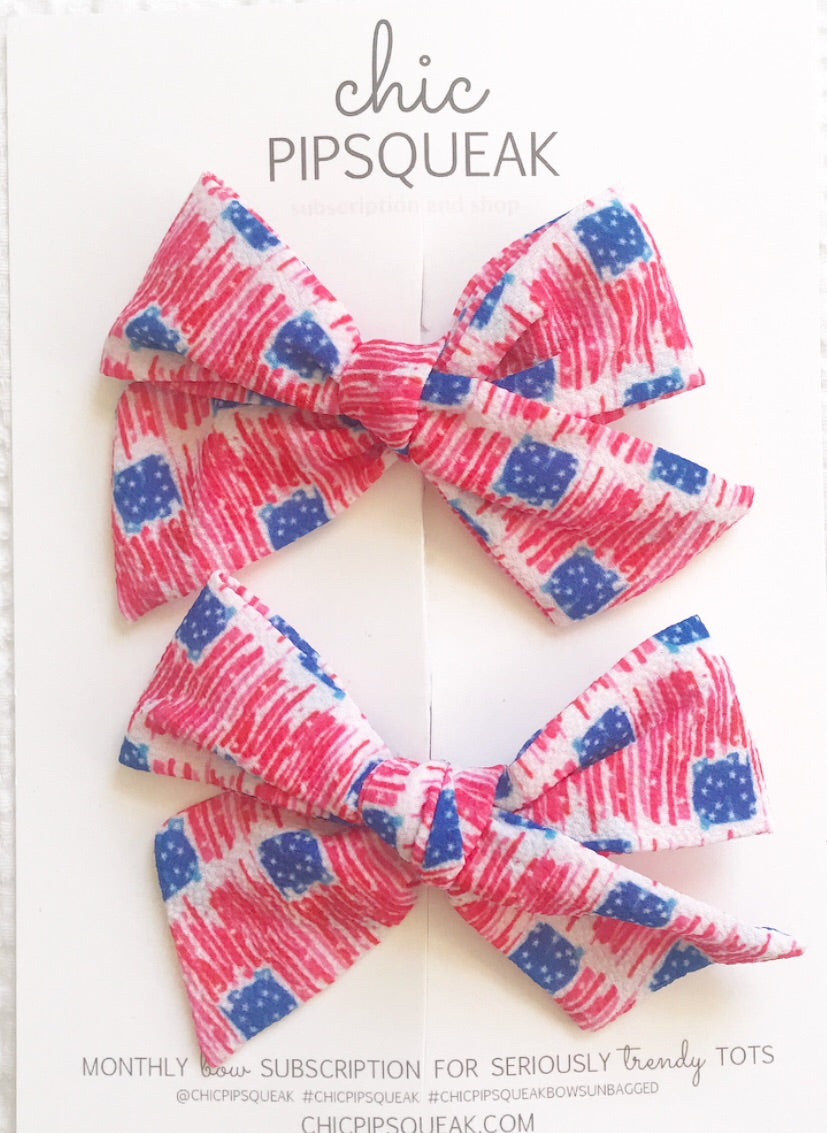 Watercolor American Flag Hand-Tied Bow Pig Tail Set
