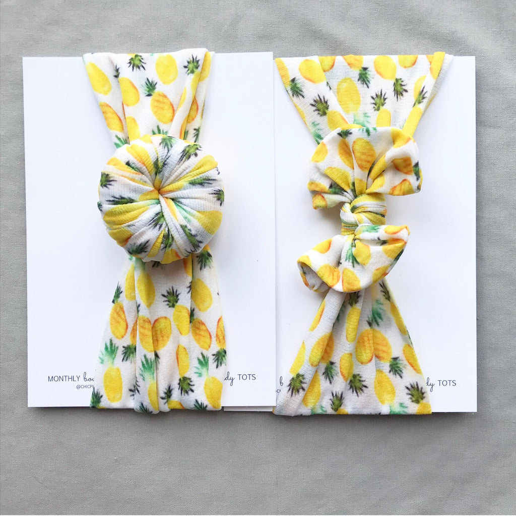 Classic Nylon and Ballet Bun Headwraps- Yellow Pineapple