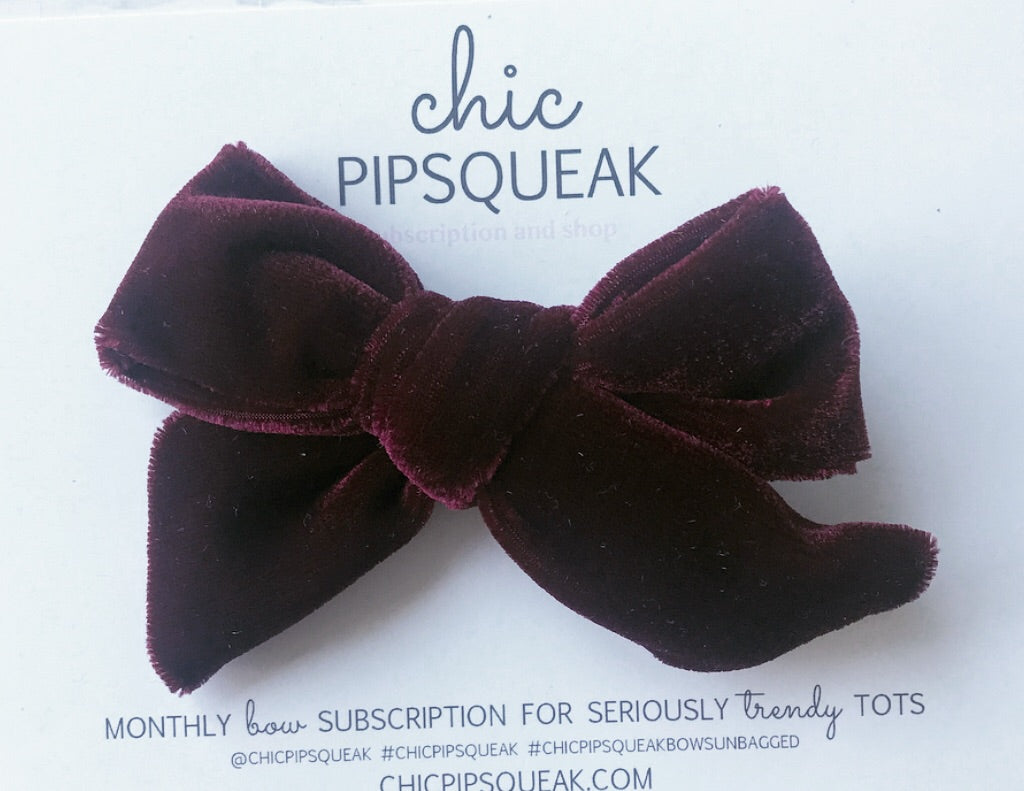 Velvet Hand-Tied Bow- Wine