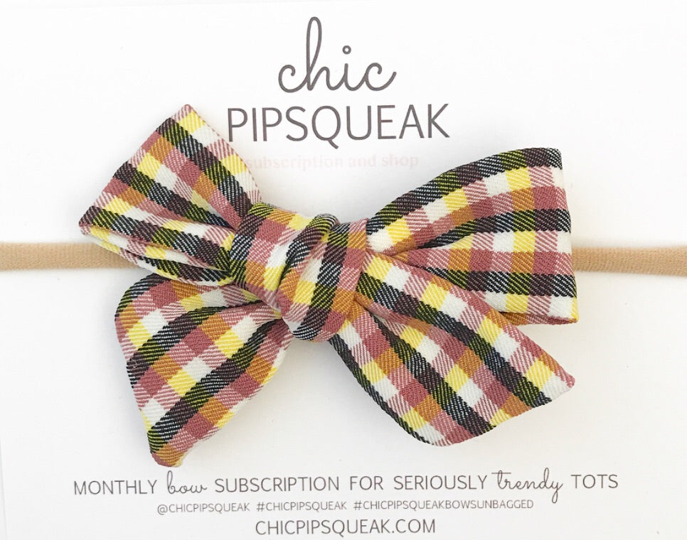 Hand-Tied Bow- Yellow/Brown Plaid