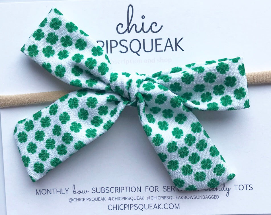 Classic Hand-Tied Bow- Oversized Green Shamrock