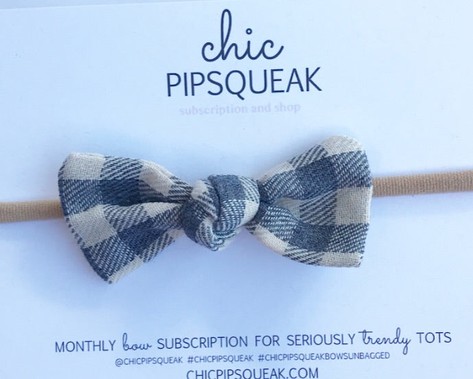 Knot Bow-Gray and Off White Buffalo Plaid