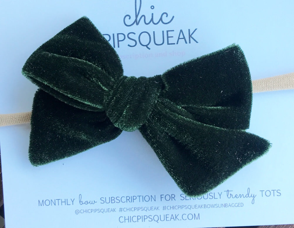 Velvet Hand-Tied Bow- Hunter Green
