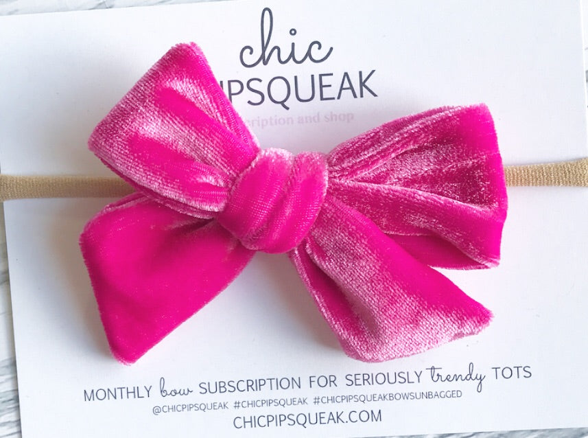Velvet Hand-Tied Bow- Magenta Hot Pink
