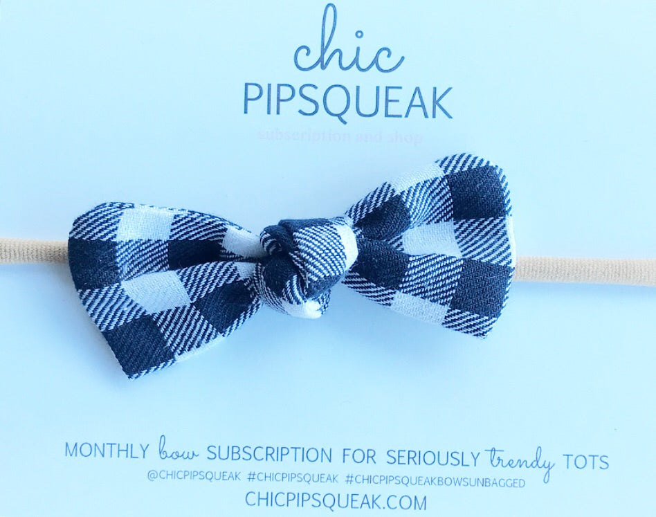 Knot Bow-Navy and White Buffalo Plaid
