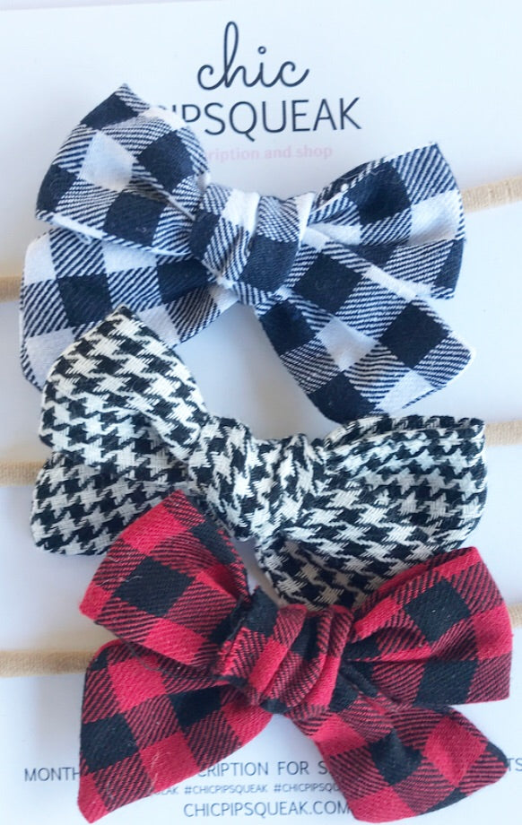 Hand-Tied Plaid Bow Bundle- Buffalo and Houndstooth