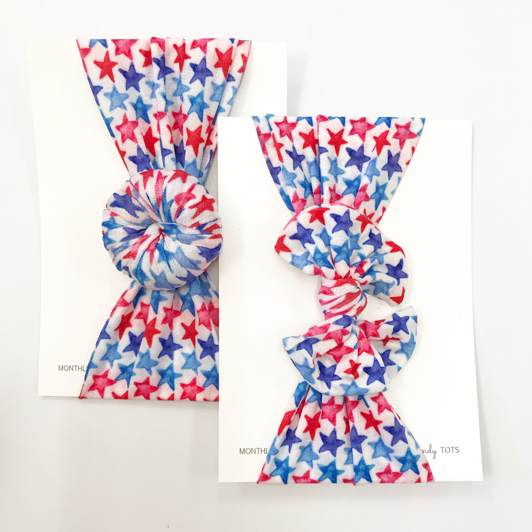 Nylon Headwraps- July 2019 Red and Blue Stars