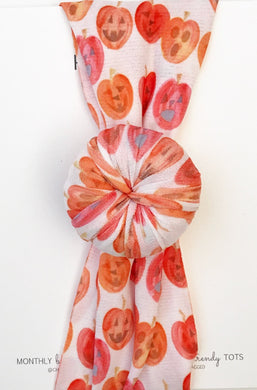 Ballet Bun Nylon Headwrap- Watercolor Jack-O-Latern