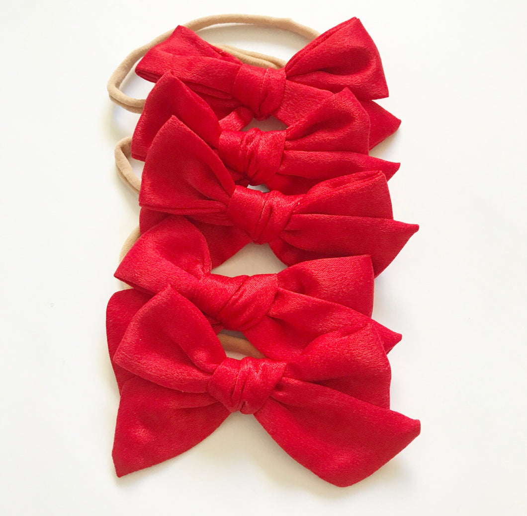 Monthly Special!!!  Satin Hand-Tied Bow- Bright Red