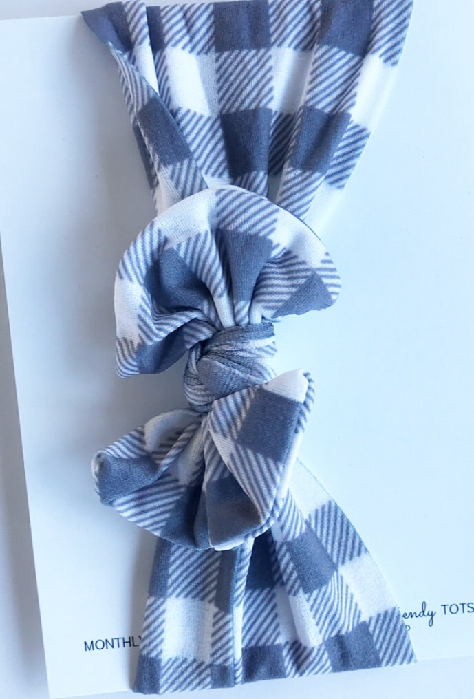 Classic Nylon Headwraps- Gray and White Buffalo Plaid