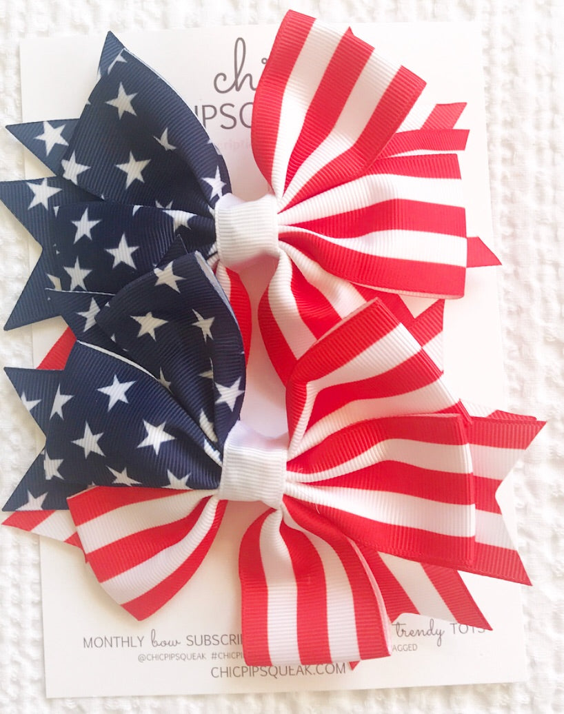 American Grosgrain Flag Bow Pig Tail Set