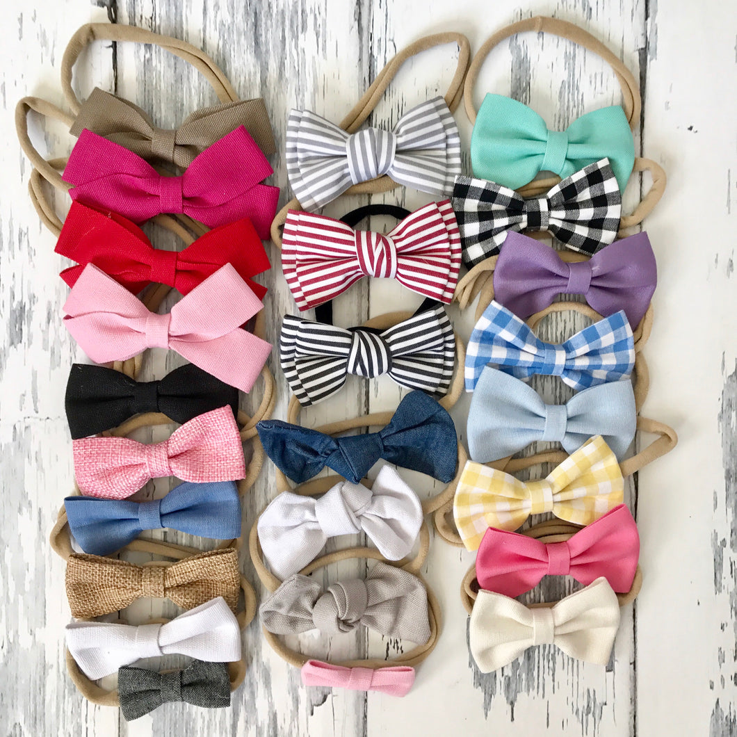 25 Premium Nylon Bow Headbands