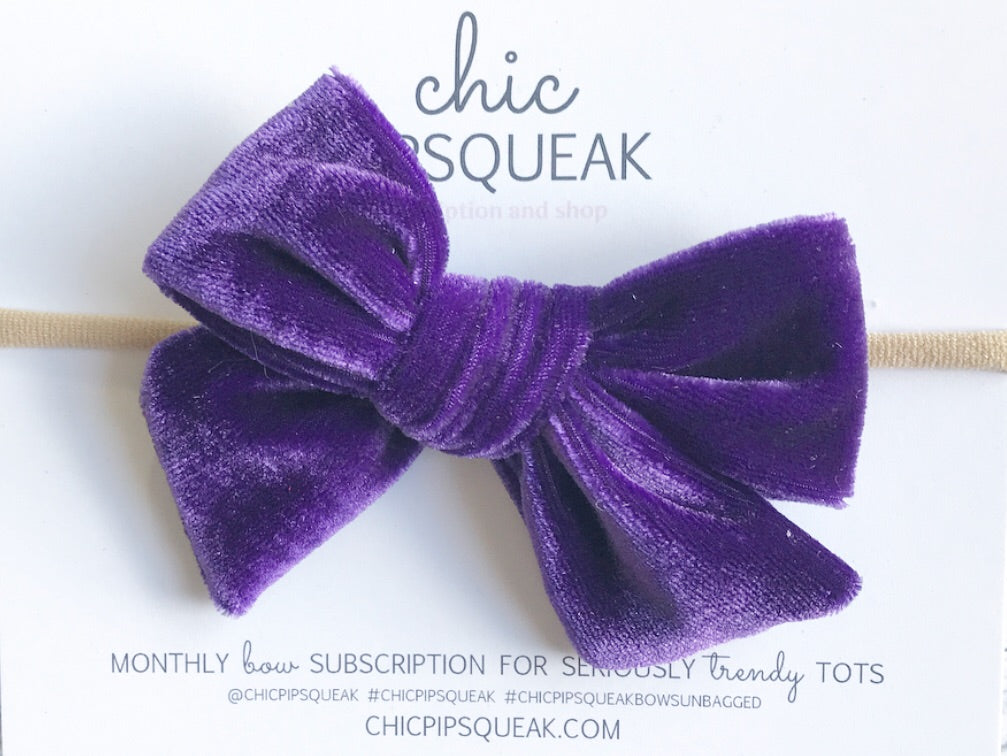 Velvet Hand-Tied Bow- True Purple
