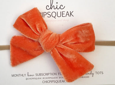 Velvet Hand-Tied Bow- Orange