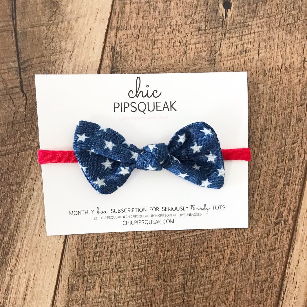 Monthly Special!  Knot Bows- Patriotic Denim Star 4th of July