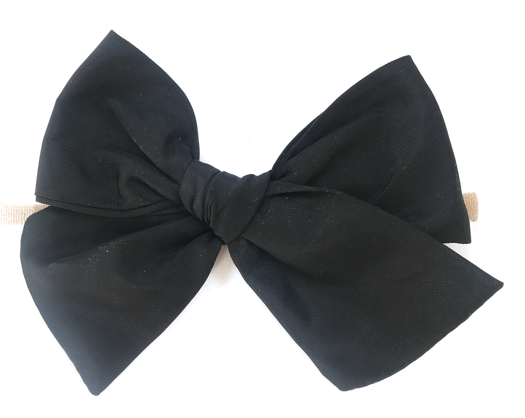 Oversized Hand Tied Bow- Swim Black