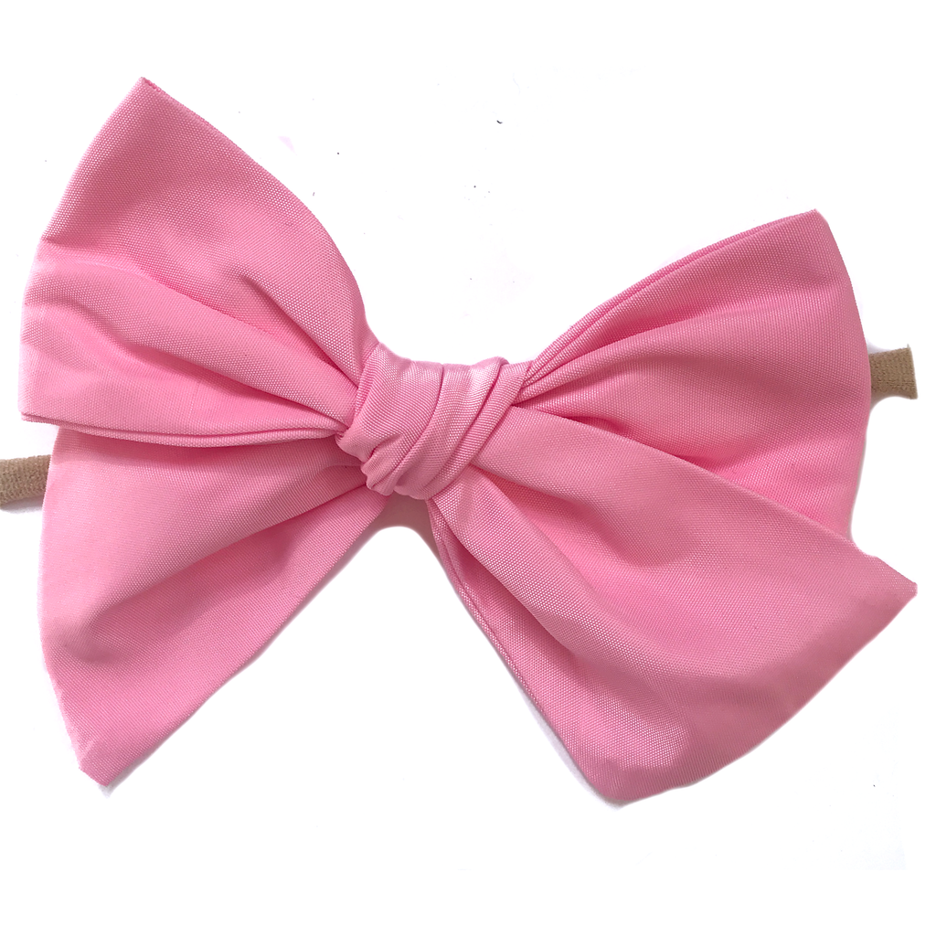 Oversized Hand Tied Bow- Swim Pink
