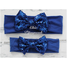 Sequin Bow Headband Solid Color, Royal Blue