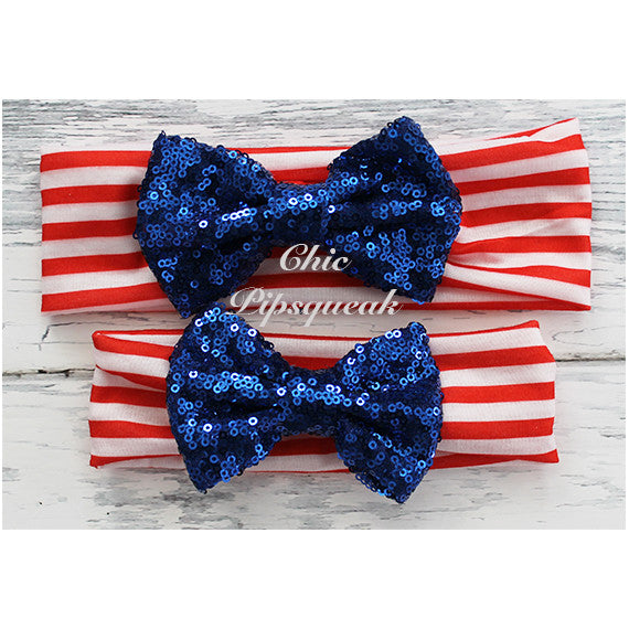 Sequin Bow Headband Solid Color, Royal Sequin Bow on Redl/White