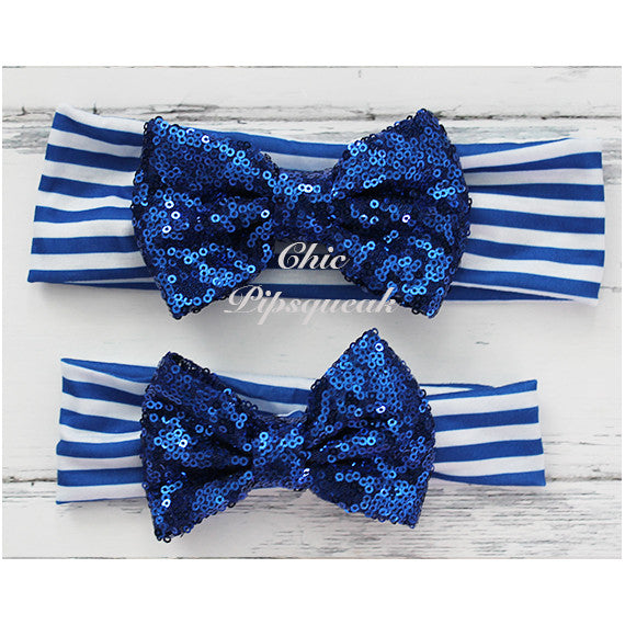 Sequin Bow Headband Solid Color, Royal Sequin Bow on Royal/White