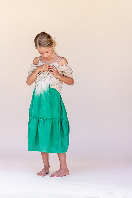 Wide Dress - Green Dipdye