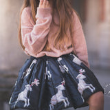 Lamb Black Printed Mini Skirt