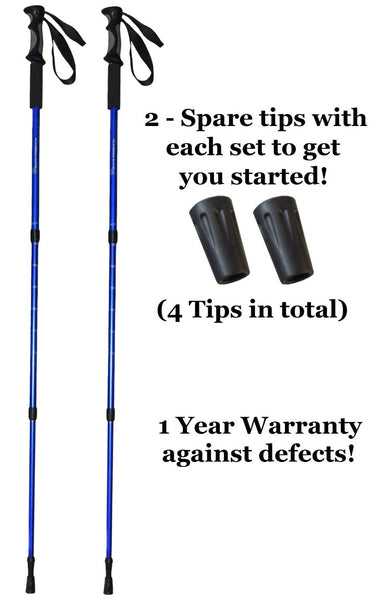 (2 Pack) Hiking Poles for Walking or Trekking - Anti-schock feature (1 Pair)