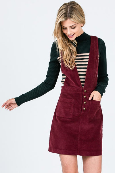 I'll Be There Corduroy Overall Dress Burgundy