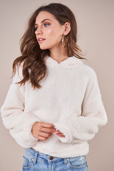 Where You Belong Sherpa Hoodie Cream