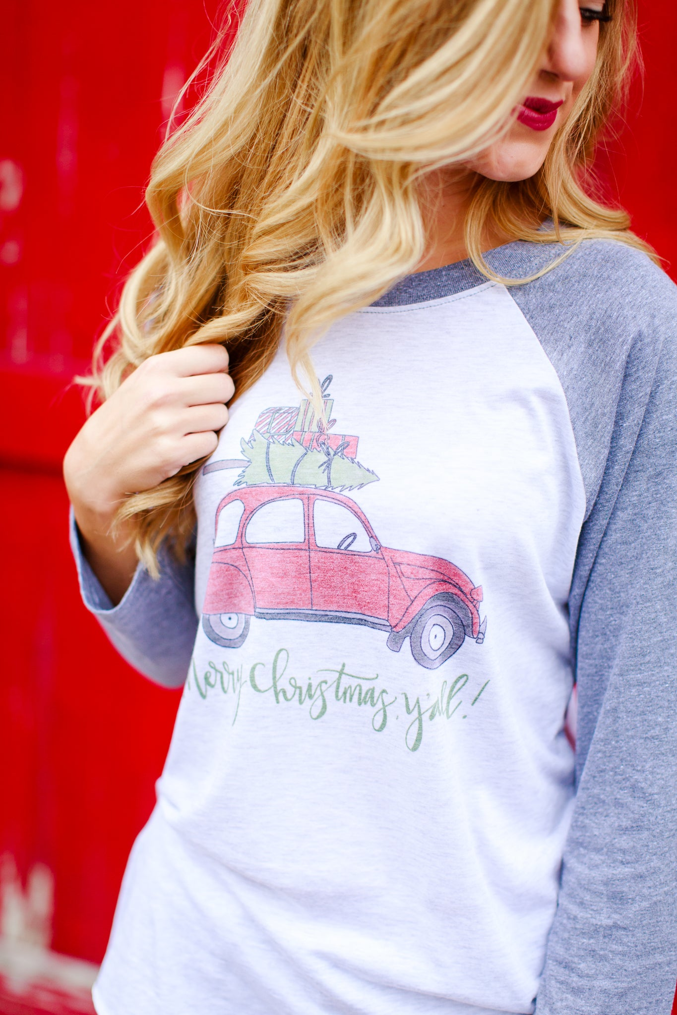 Merry Christmas Y'all Raglan Tee