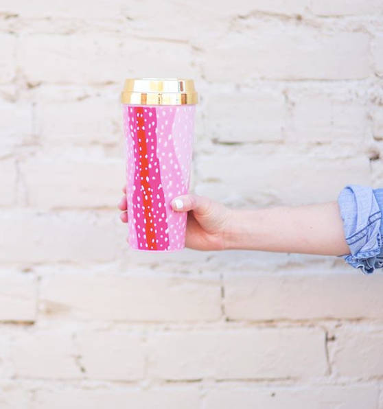 Pink Spotty Dot Coffee Tumbler
