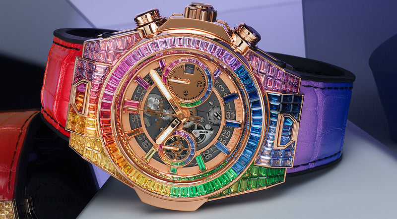 Hublot unveils Big Bang Unico full baguette King Gold Rainbow.