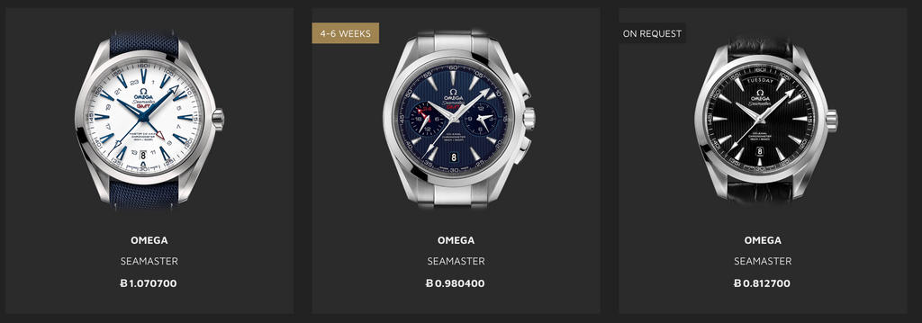 BitDials screenshot of Omega Watches with prices in Bitcoin