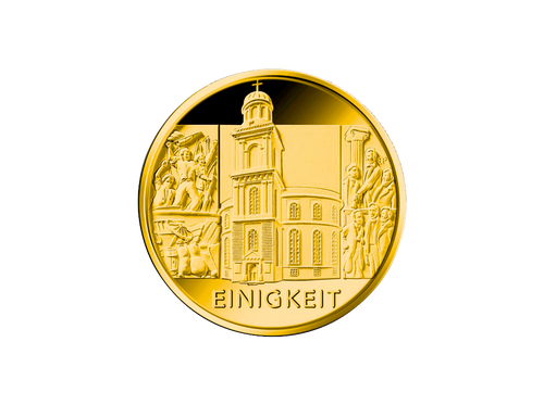 Buy original 1/2 oz Pillars of Democracy: Unity Gold Coin - 100 Euro Germany 2020 with Bitcoin!