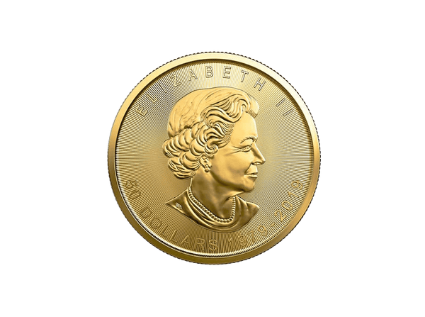 Buy original gold coins 1 oz Canadian Maple Leaf 40 Years Gold with Bitcoin!