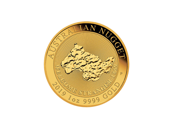 Buy original gold coins 1 oz Australian Nugget Gold – The Welcome Stranger 2019 with Bitcoin!