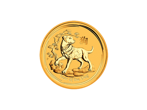 Buy original gold coins 1 oz Gold 2018 Lunar II Dog with Bitcoin!