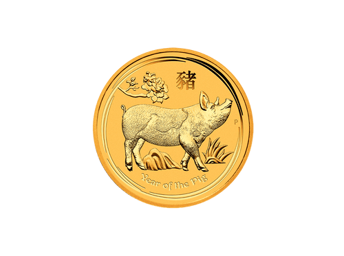 Buy original gold coins 1 oz Gold Lunar II Pig 2019 with Bitcoin!