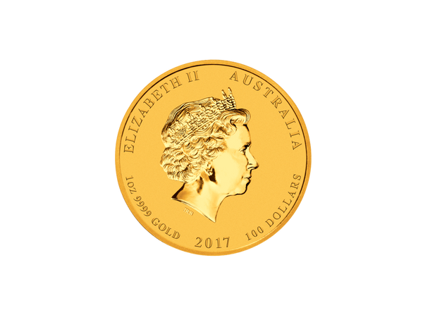 Buy original gold coins 1 oz Gold Lunar Rooster 2017 with Bitcoin!
