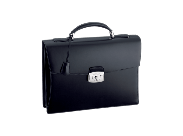 Buy original leather bags S.T. Dupont One Gusset Briefcase Line D Leather Black 181001 with Bitcoin!