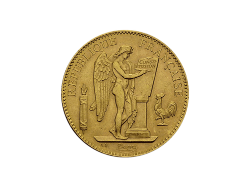 Buy original gold coins France 100 Francs Genius (1871-1940) Gold with Bitcoin!